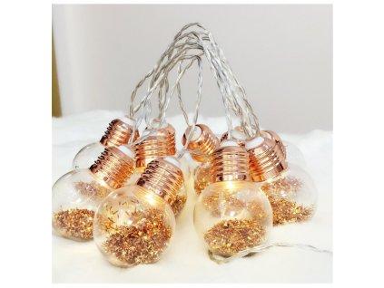 LED vánoční girlanda - žárovičky v měděné barvě, teplá bílá, 2xAA, 160 cm