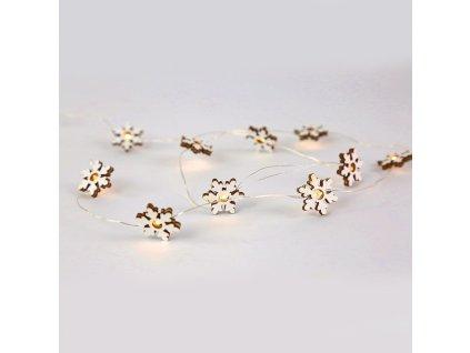 LED dekorační girlanda - Dřevěné sněhové vločky, teplá bílá barva, 2xAA, 120 cm