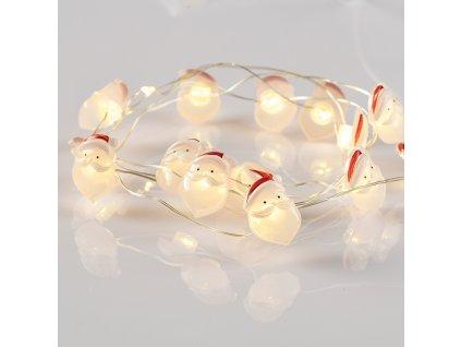 LED dekorační girlanda - Santa, teplá bílá barva, 2xAA, 170 cm