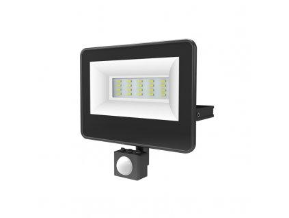 LED venkovní reflektor V 20W/230V/6000K/2200Lm/120°/IP66, senzor pohybu, černý