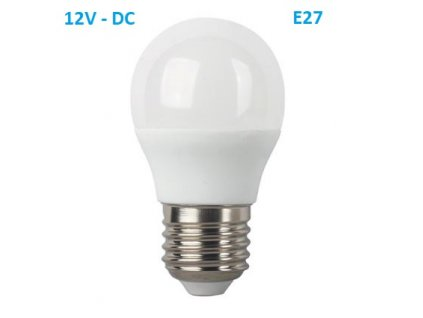 SMD LED žárovka matná Special Voltage Ball P45 5W/12V-DC/E27/3000K/440Lm/180°