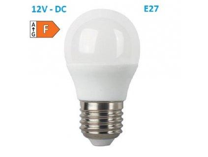 SMD LED žárovka matná Special Voltage Ball P45 5W/12V-DC/E27/4000K/450Lm/180°