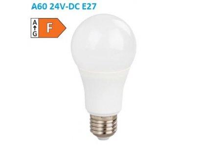 SMD LED žárovka matná Special Voltage A60 10W/24V-DC/E27/6000K/910Lm/230°