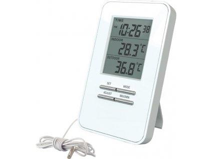 Digitální teploměr, teplota, velký displej, datum, čas, bílý