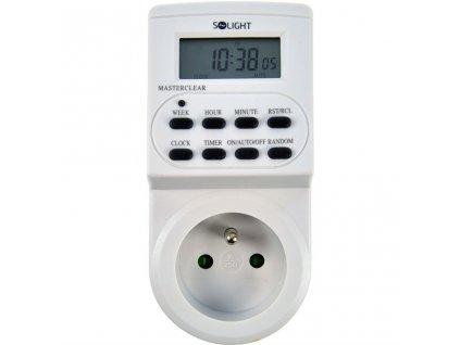 Digitální týdenní časový spínač 230V/16A, 1 zásuvka, bílý