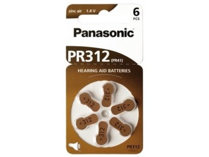 Baterie 312 PANASONIC 6ks (blistr)