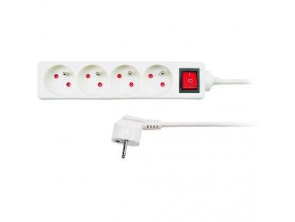 Prodlužovací kabel 230V/10A - 3m, 4 zásuvky, 3 x 1mm, IP20, bílý s vypínačem