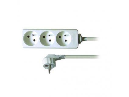 Prodlužovací kabel 230V/10A - 3m, 3 zásuvky, 3 x 1mm, IP20, bílý