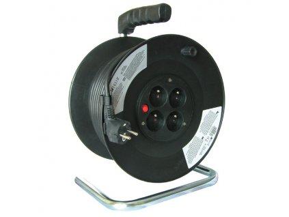 Prodlužovací kabel na bubnu PB02 - 4 zásuvky, 50m, 3 x 1,5mm, IP20, černý
