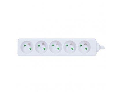 Kabelová vícenásobná zásuvka PZ05 230V/16A - 5 zásuvek, IP20, bílá