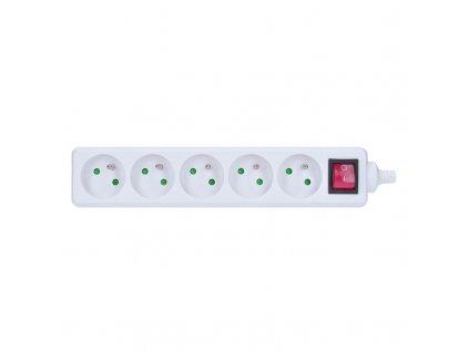 Kabelová vícenásobná zásuvka 230V/16A - 5 zásuvek, IP20, bílá s vypínačem