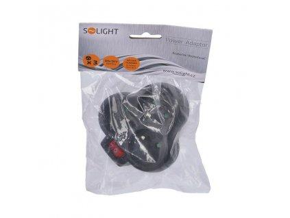Zásuvka rozbočovací s vypínačem SOLIGHT P99 Black 3x 230V/10A