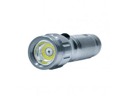 LED svítilna 3W COB+infra laser 180Lm 3 x baterie AAA, stříbrná