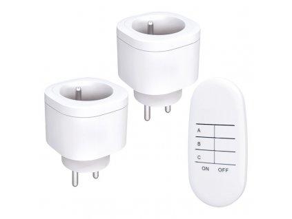 Dálkově ovládané zásuvky set 2 zásuvky + 1 ovladač  Learning Code 3000W/13A