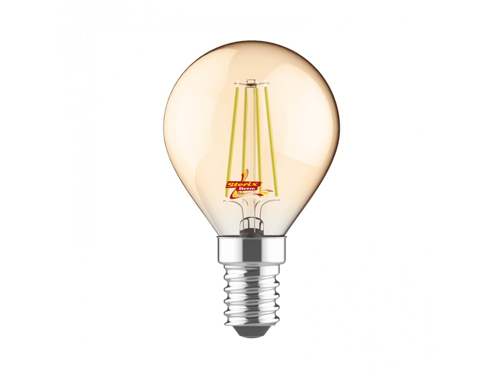 Retro LED žárovka Ball Gold 5W/2700K/E14/400lm/Step Dim