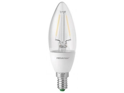 MEGAMAN LED filament.candle B35 3.2W/25W E14 2700K 220lm Dim 15Y retro LED žárovka
