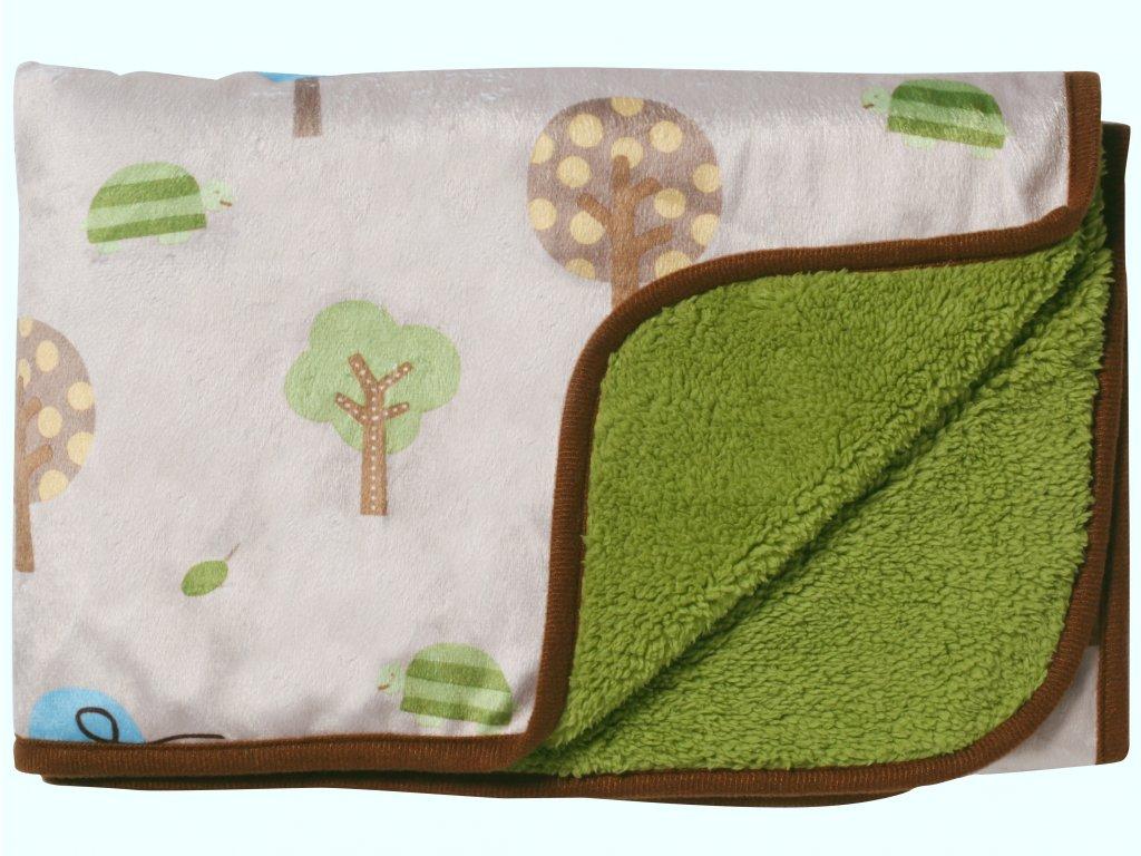 Baby Ono Dětská deka oboustranná 74x100 cm zelená - sovičky v lese