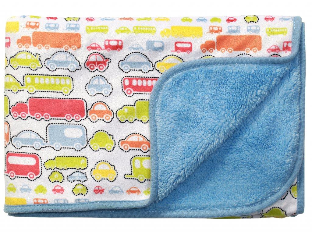 Baby Ono Dětská deka oboustranná 75x100 cm modrá s autíčky
