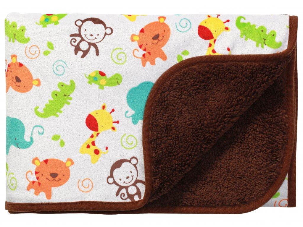 Baby Ono Dětská deka oboustranná 75x100 cm hnědá ZOO