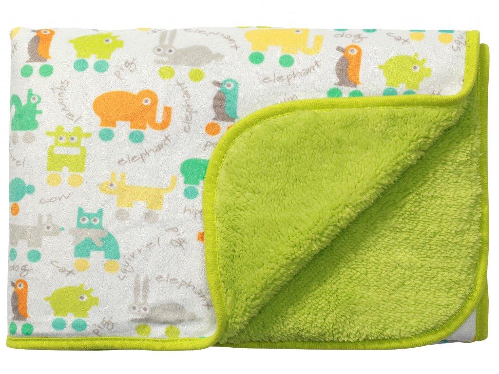Baby Ono Dětská deka oboustranná 75x100 cm zelená se zvířátky