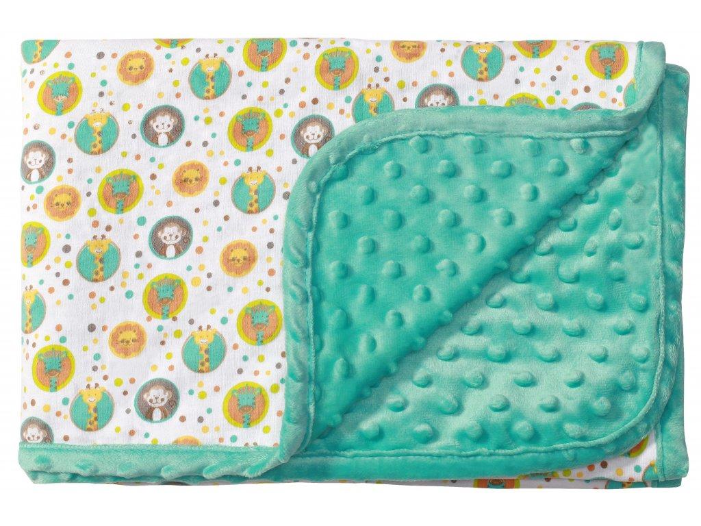 Baby Ono Oboustranná deka Bublinky s bavlnou 75x100cm- tyrkysová ZOO