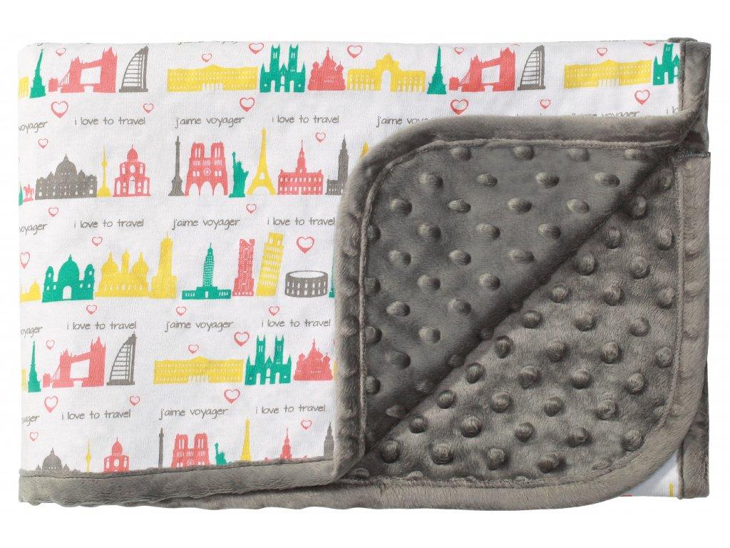 Baby Ono Oboustranná deka Bublinky s bavlnou 75x100cm - šedá