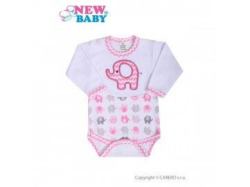 Kojenecké body s dlouhým rukávem New Baby Sloník bílo-růžové