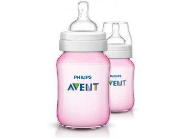 Philips Avent Kojenecká láhev Classic+ 260ml - 2ks růžové