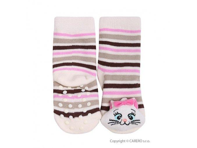 Bobobaby ponožky kojenecké s chrastítkem - protiskluzové - Kočička proužek