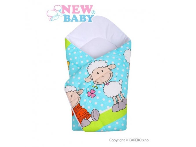 Dětská zavinovačka New Baby tyrkysová s ovečkou