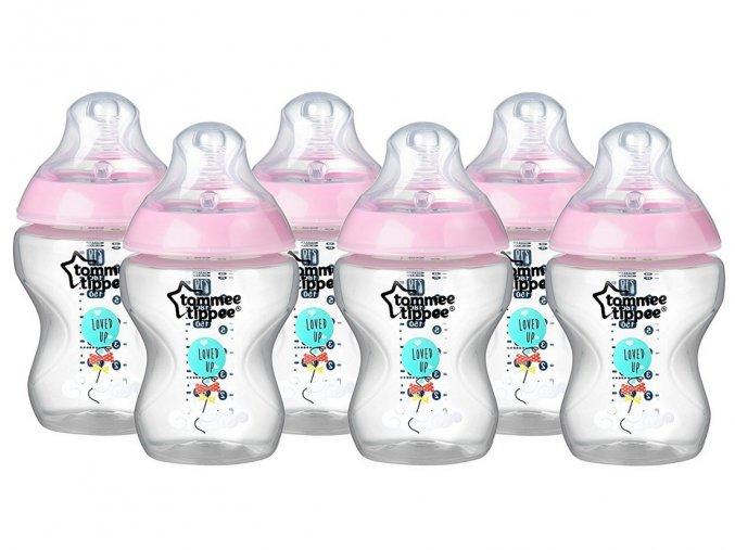 Tommee Tippee růžová sada lahviček C2N 6ks, 260ml (2)