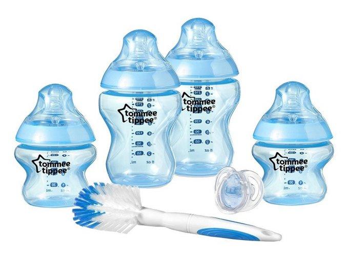 Tommee Tippee sada kojeneckých lahviček C2N s kartáčem a šidítkem modrá (1)