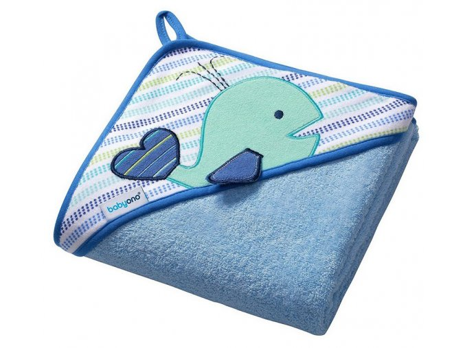 Baby Ono Froté osuška s kapucí modrá s velrybou