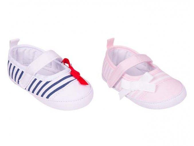 YO Capáčky, kojenecké botičky proužkované s mašličkou dívčí
