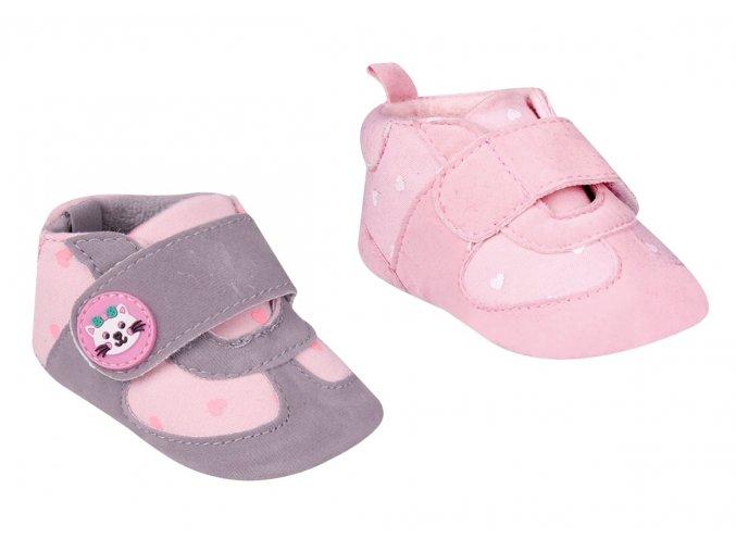 YO zateplené capáčky, kojenecké botičky/tenisky na suchý zip s kočičkou - dívčí