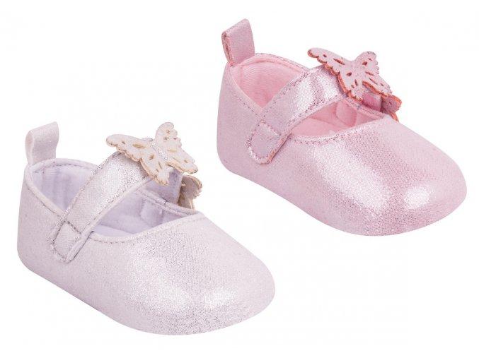 YO Capáčky, kojenecké botičky balerínky třpytivé s motýlky 6 12m