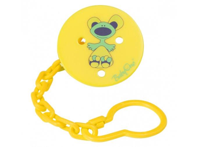 Baby Ono řetízek na šidítko s klipem - kulatý žlutý