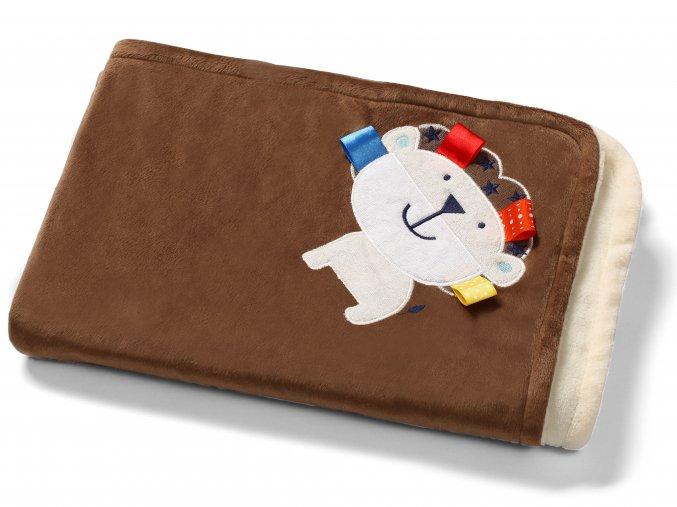 Baby Ono Dětská deka oboustranná s 3D prvky 75x100 cm hnědá lvíček