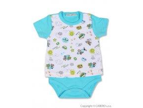 Kojenecké body Baby service Pilot modré - krátký rukáv