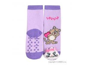 Bobobaby ponožky kojenecké s chrastítkem - protiskluzové - Kočička fialové