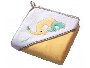 Baby Ono Velurová osuška s kapucí - žlutá se slony