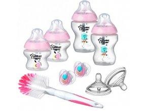 Tommee Tippee sada kojeneckých lahviček C2N s kartáčem a šidítky růžová (1)