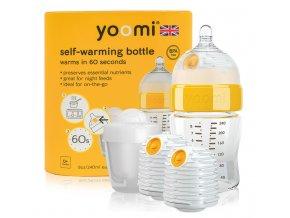 Yoomi samoohřívací kojenecká láhev 240 ml, 2 x ohřívač, savička a nádoba na ohřívač