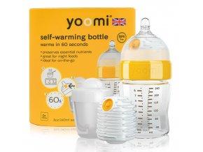 Yoomi samoohřívací kojenecká láhev 240 ml, 1x ohřívač, savička a nádoba na ohřívač