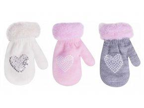 O dětské zimní rukavice s kožešinkou a aplikací srdíčka dívčí