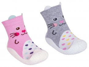 YO Ponožky s gumovou podrážkou dívčí s oušky