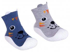 YO Ponožky s gumovou podrážkou klučičí s oušky
