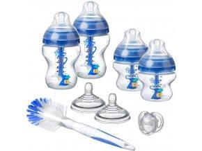 Tommee Tippee sada kojeneckých lahviček Advanced AntiColic s kartáčem a šidítky modrá (1)