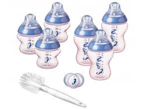 Tommee Tippee novorozenecká startovací sada Girl modrárůžová (6x lahvička, kartáč, šidítko) (1)