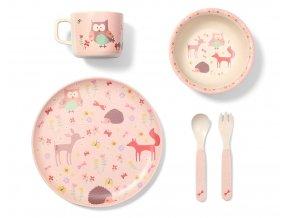 BabyOno 5 dílná bambusová sada dětského nádobí 12m+ Forest pink (1)
